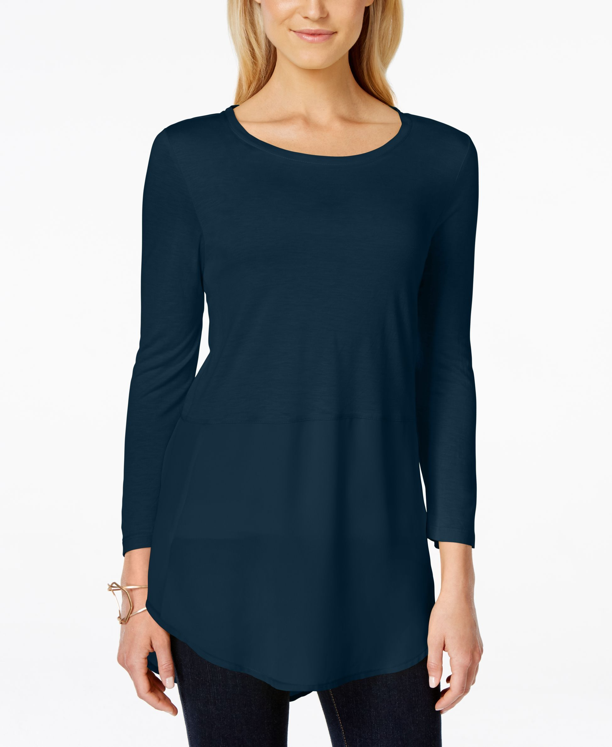Vince Camuto Solar Glow Mixed-Media Knit Top