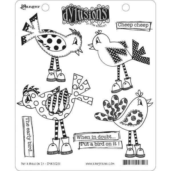 Ranger Ink - Dylusions Stamps - Unmounted Rubber Stamps - Put a Bird On It at Scrapbook.com