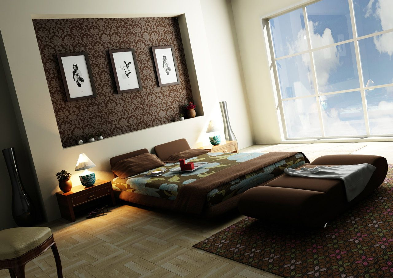 Top 25 Contemporary Style Bedroom Design Ideas : White Contemporary Style Bedroom with Brown LowProfile Bed and Brown Lounge Sofa