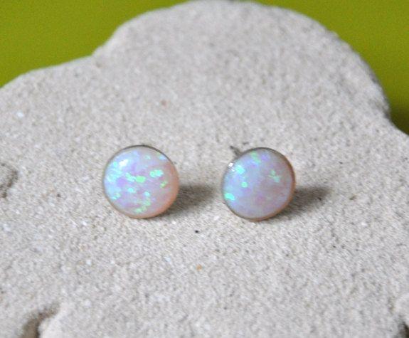 Australian Opal Stud Earrings Sterling Silver By Jewelrybyirina 29 50
