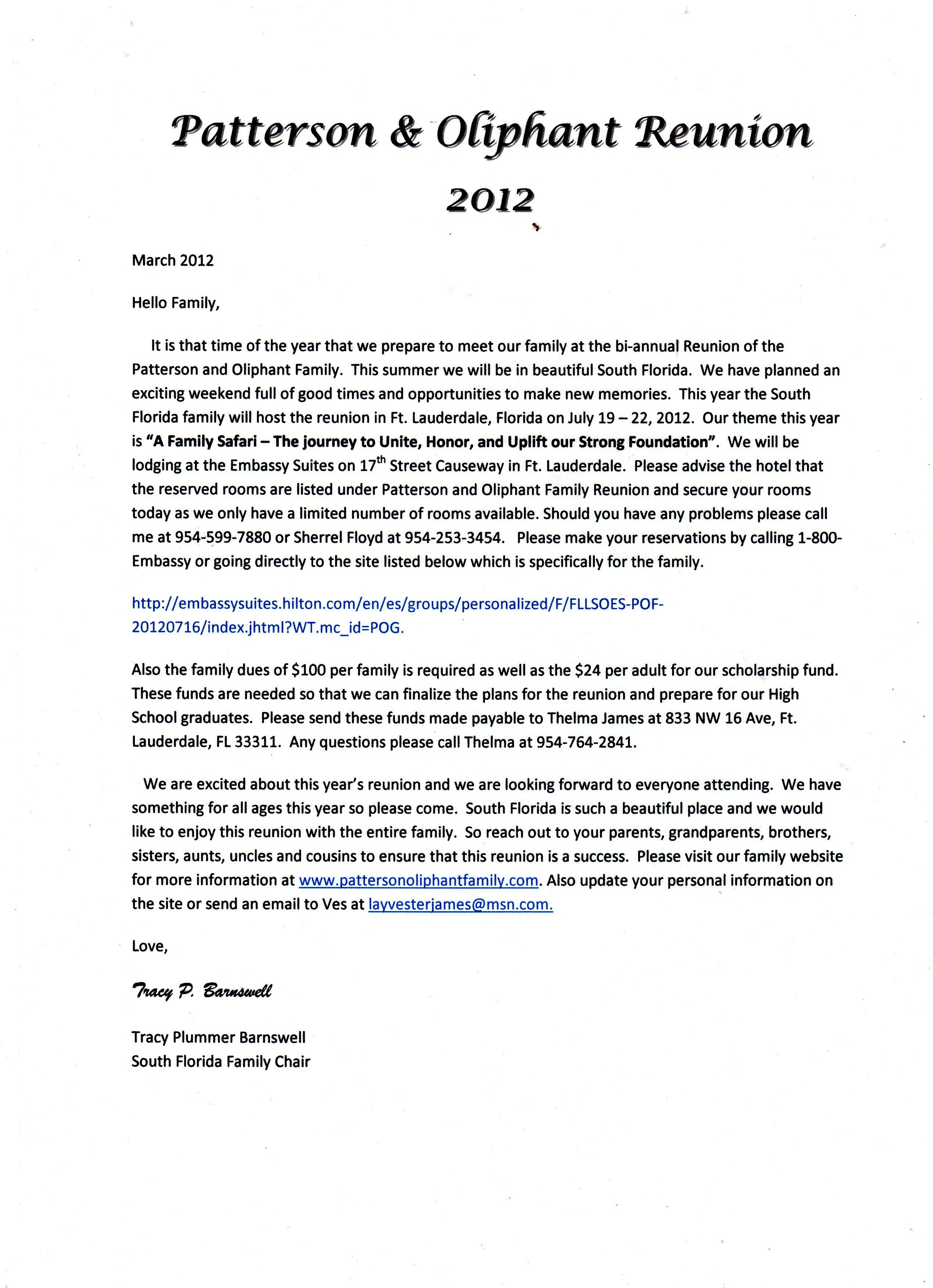 Sample Family Reunion Donation Request Letter | mamiihondenk org