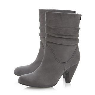 cdd1187c0067 Head Over Heels Ladies RASCAL - Ruched Mid Heel Calf Boot - grey ...