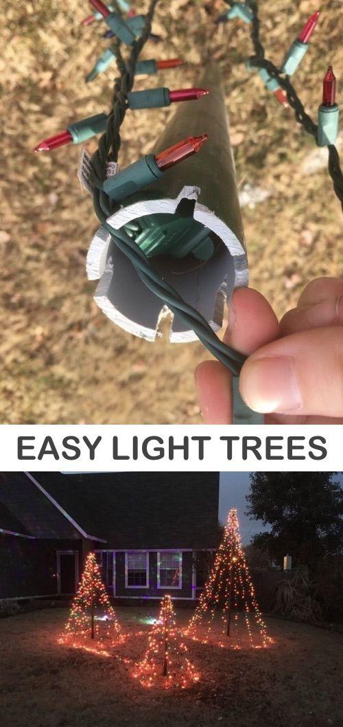DIY Easy Christmas Tree Lights For Your Backyard