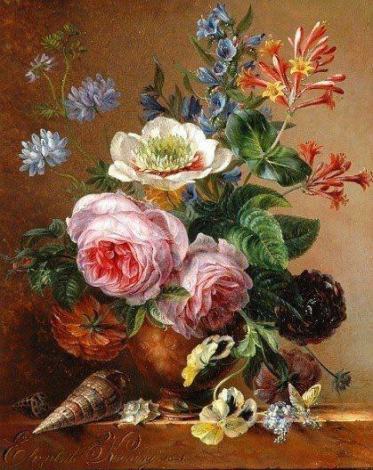Elisabeth Johanna Koning (Dutch artist, 1816-1887) Exuberant Flower Still Life on a Marble Ledge 1841