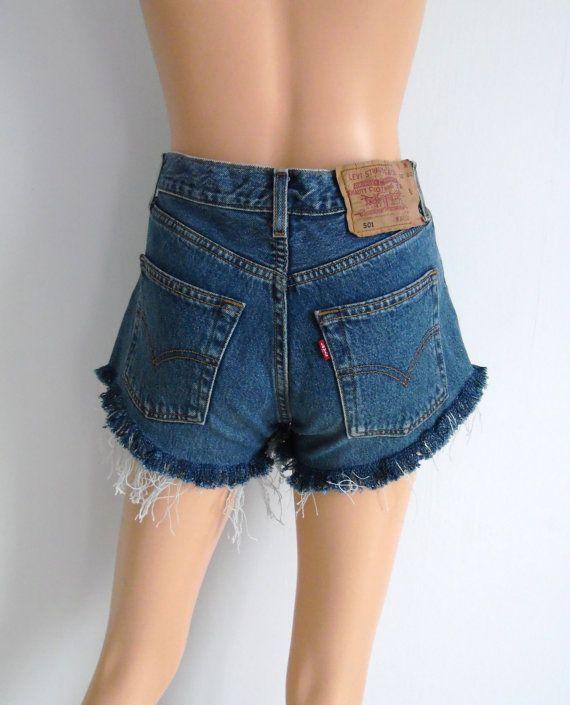 48d923a24e4 High waisted shorts vintage Levis 501 blue distressed denim | denim ...