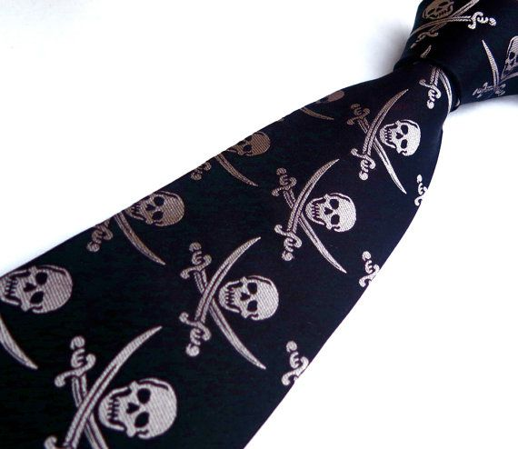 Pirate Ship and Skull Necktie