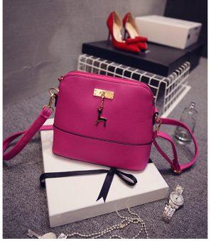 Fashion Shell Leather Shoulder Decorative Deer Branded Handbag