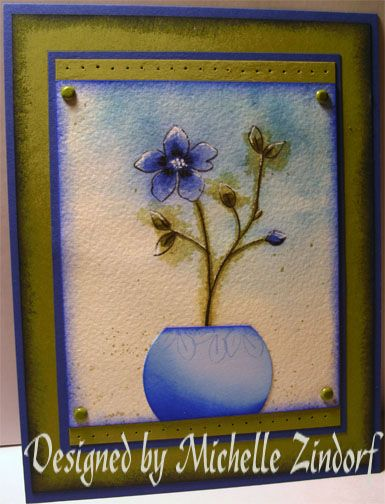 Michelle Zindorf, Watercolored & Punched Potted Flower ...