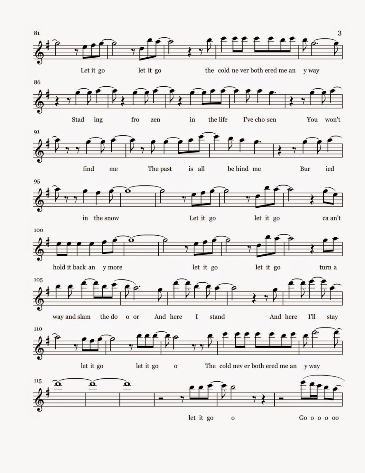 Flute Sheet Music Let It Go