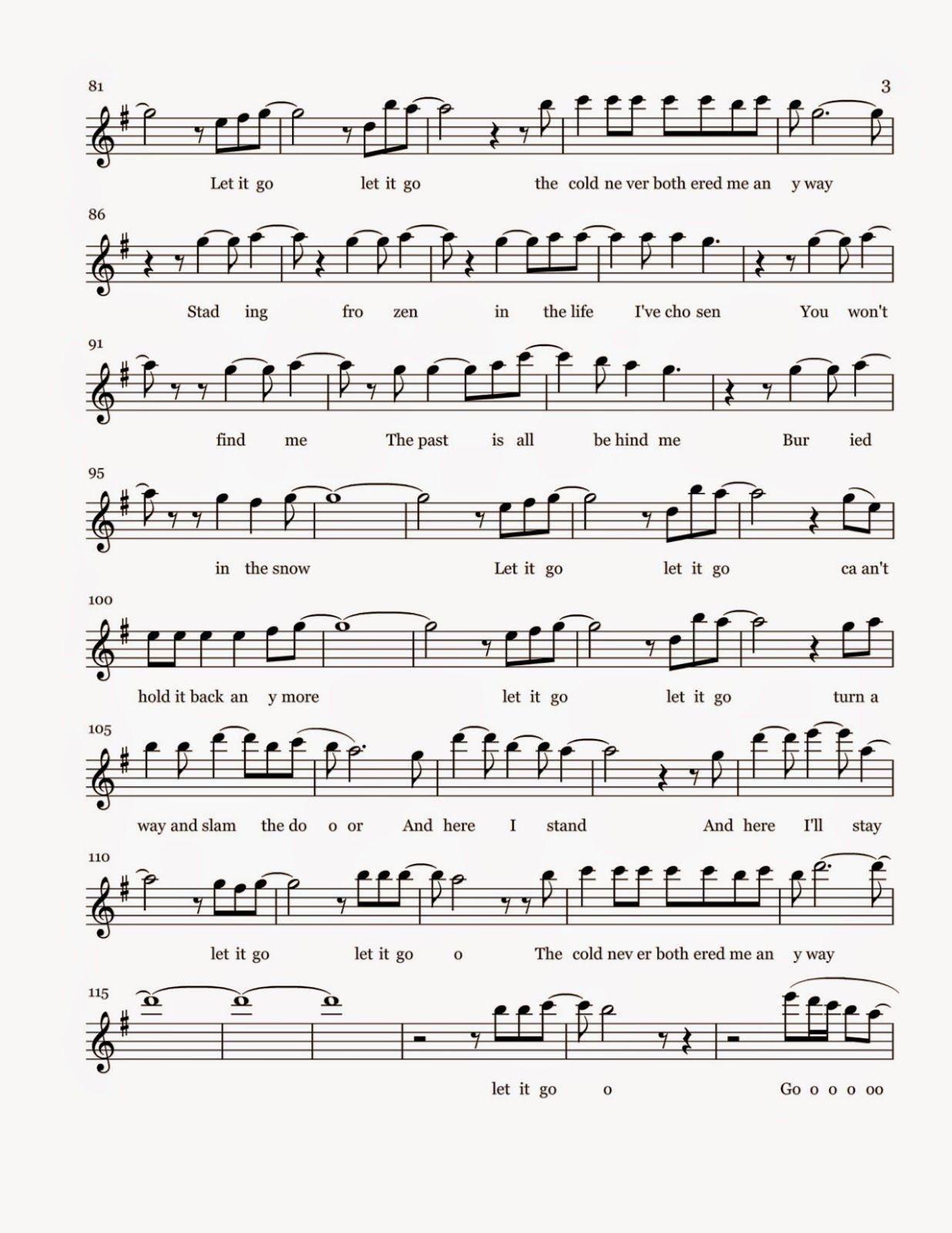 Flute Sheet Music Let It Go Sheet Music Sheet Music Flute