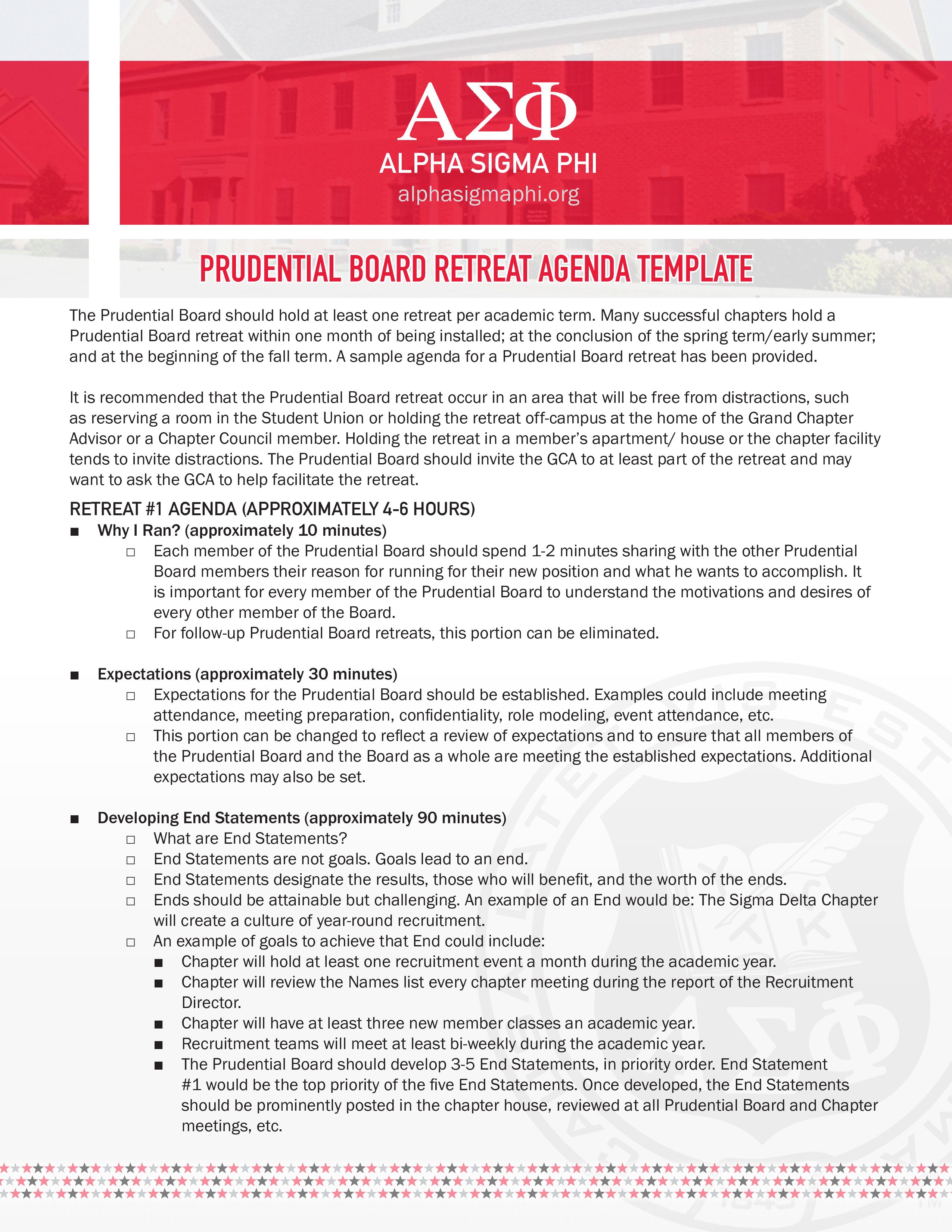 Prudential Board Retreat Agenda How to create a