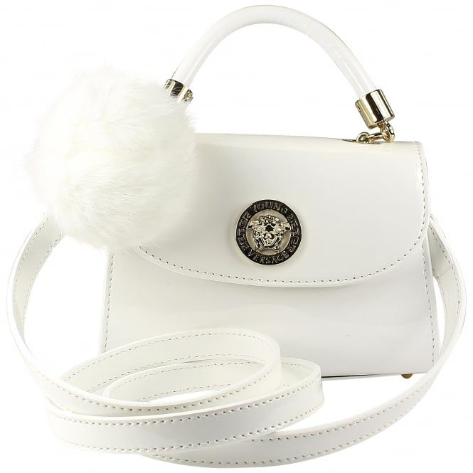 6c9afa716bb9 Young Versace girls white patent leather handbag with pompom. Also  available in pink.  versace  youngversace  handbag