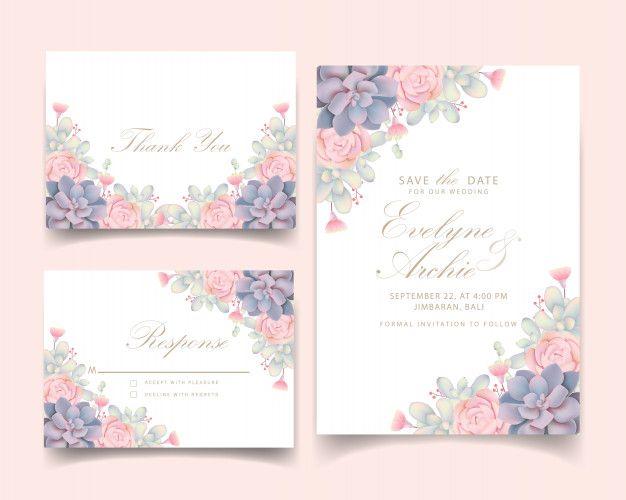Floral wedding invitation with succulent  Premium Vector