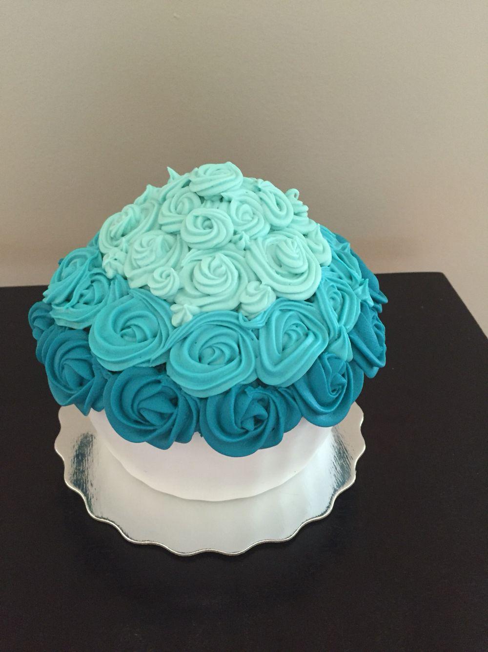Cake ideas on pinterest pirate cakes marshmallow fondant and - Smash Cake Giant Cupcake Teal Ombre Icing Vanilla Cake With A Marshmallow Fondant