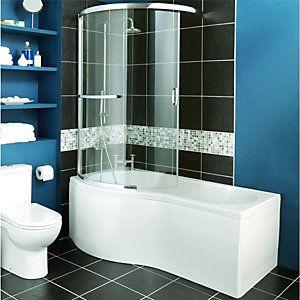 Wickes Two Panel Sliding Shower Bath Screen Left Hand Wickes Co Uk