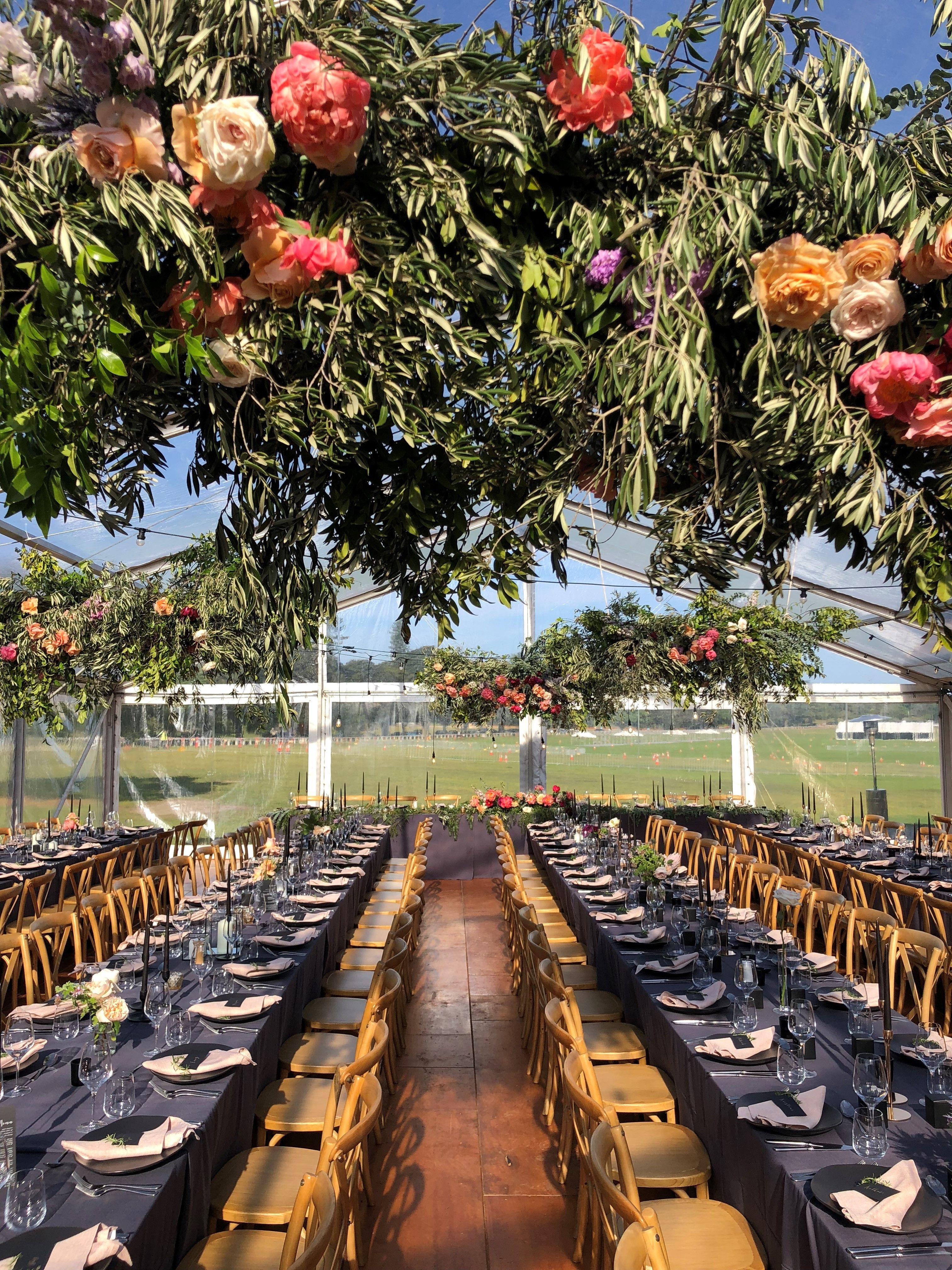 Floral Arrangements Wedding Reception Ideas Marquee Wedding Tent Hanging Florals Moody Modern Vintage Sydney Wedding Wedding Planner Marquee Wedding