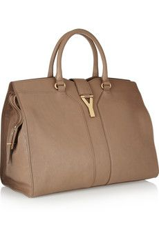 54b3bf626b38 Yves Saint Laurent Cabas Chyc Large Leather Tote in Taupe