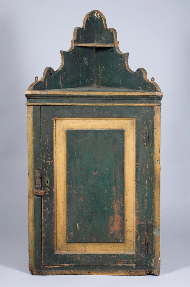 charming antique white wash furniture | A Folk Art green painted country corner cupboard high ...