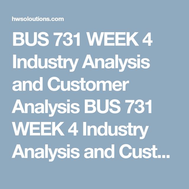 Bus  Week  Industry Analysis And Customer Analysis Bus