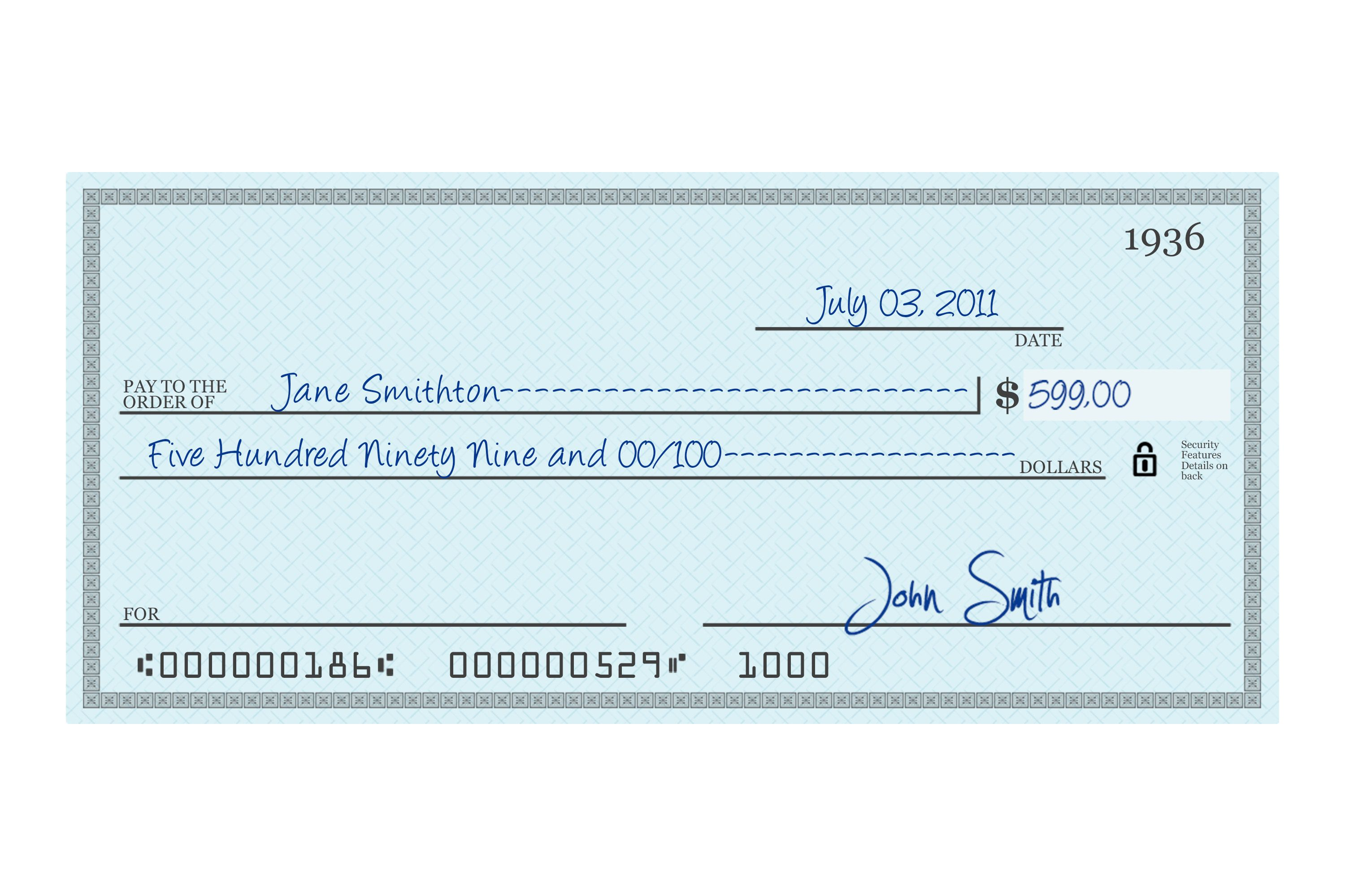 How Do U Write A Check For 600 Dollars?