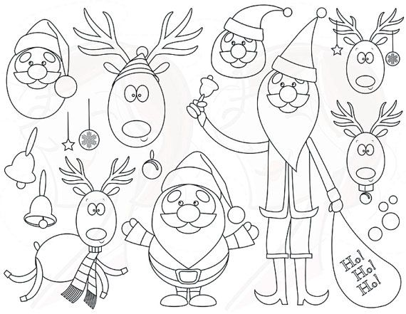 Christmas Digistamp Santa Reindeer Vector Office Use