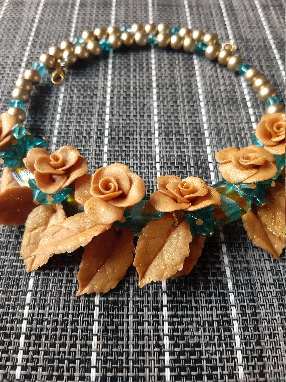 Photo of Bronze Roses Necklace Sky Blue Necklace Golden Leaf