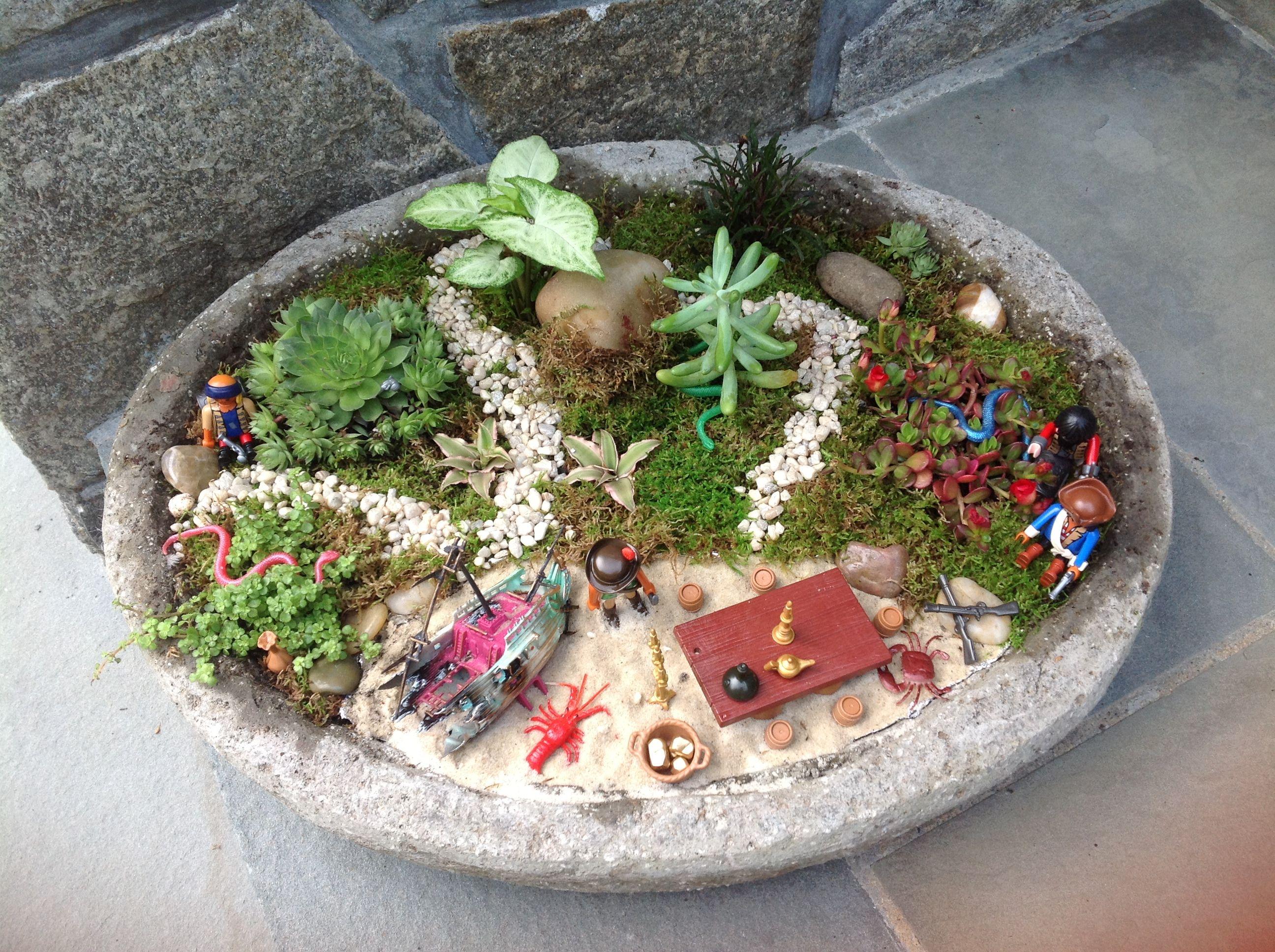 Fairy garden for boys!! Pirate theme | Kids | Pinterest | Pirate theme
