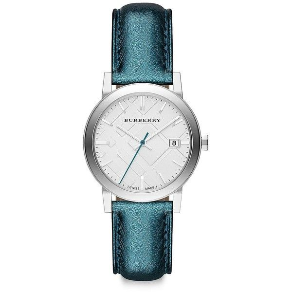 Burberry Stainless Steel Metallic Leather Strap Watch/Blue (535 CAD) ❤ liked on Polyvore featuring jewelry, watches, burberry, stainless steel jewellery, quartz movement watches, leather strap watches and metallic jewelry