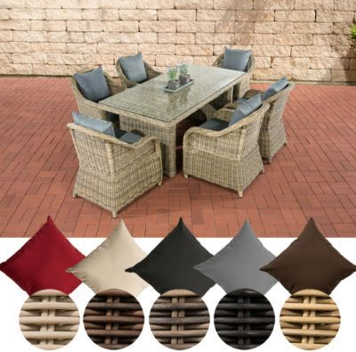 Polyrattan Essgruppe LAVELLO, 6 Sessel inkl Polster + Tisch 180 x - outdoor sessel polyrattan