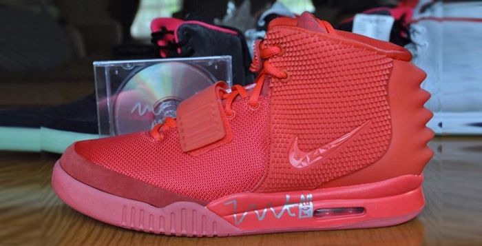 This is a Nike Air Yeezy 2 Red October. Autographed by Kanye