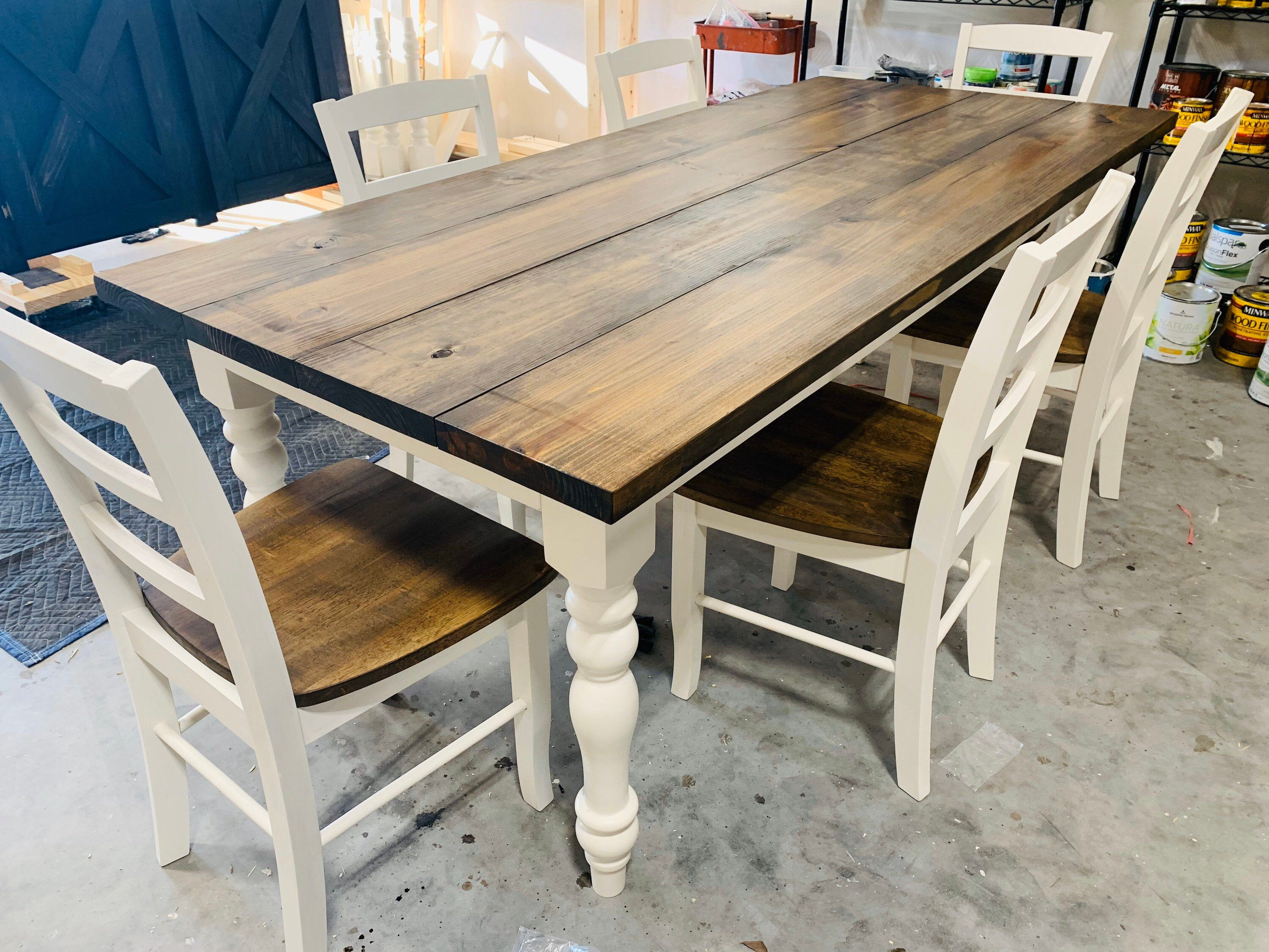 7ft rustic farmhouse table with chairs and turned legs