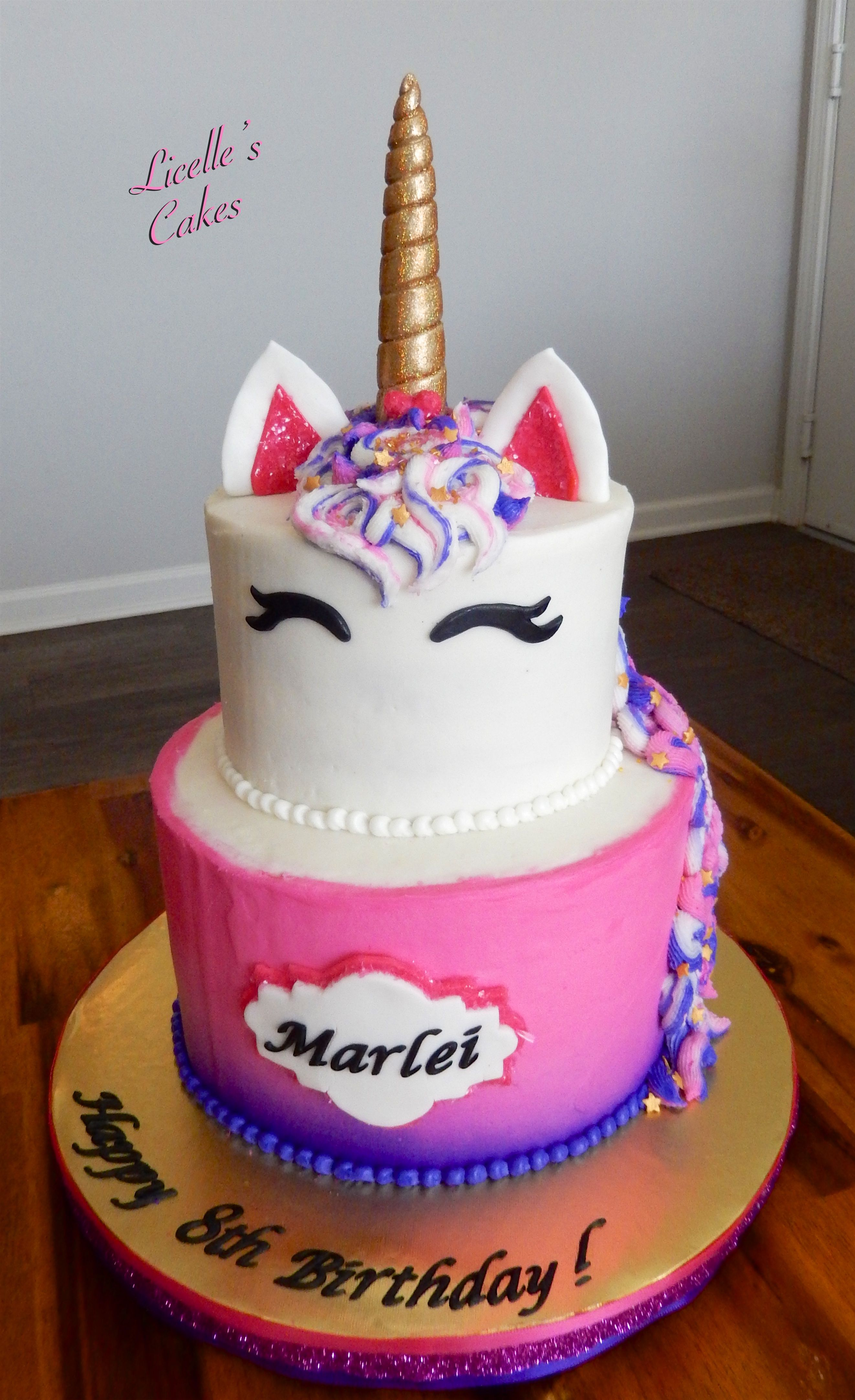 Pink And Purple Unicorn Cake With Sparkles Gold Horn A Name Plaque