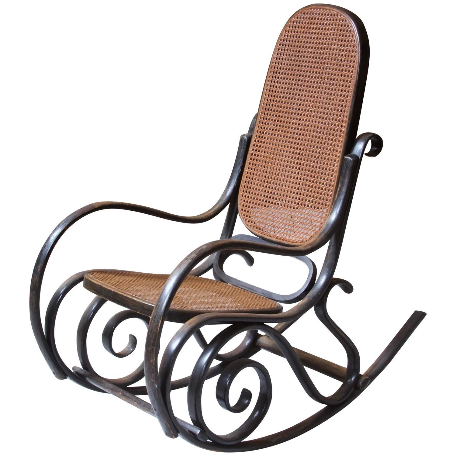 Antique Thonet Model #10 Bentwood Rocking Chair; Salvatore Leone, circa  1890s - Antique Thonet Model #10 Bentwood Rocking Chair; Salvatore Leone