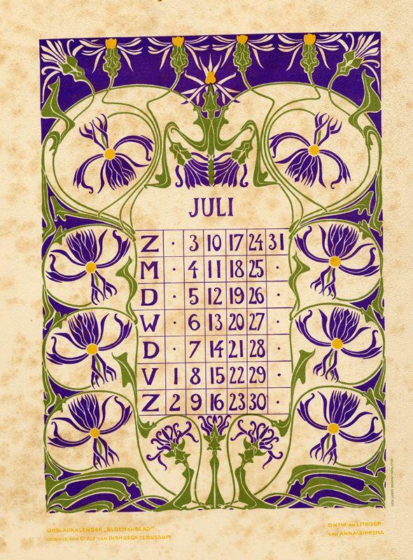 Vintage Calendar Art : Anna sipkema illustrator  july bloem en blad