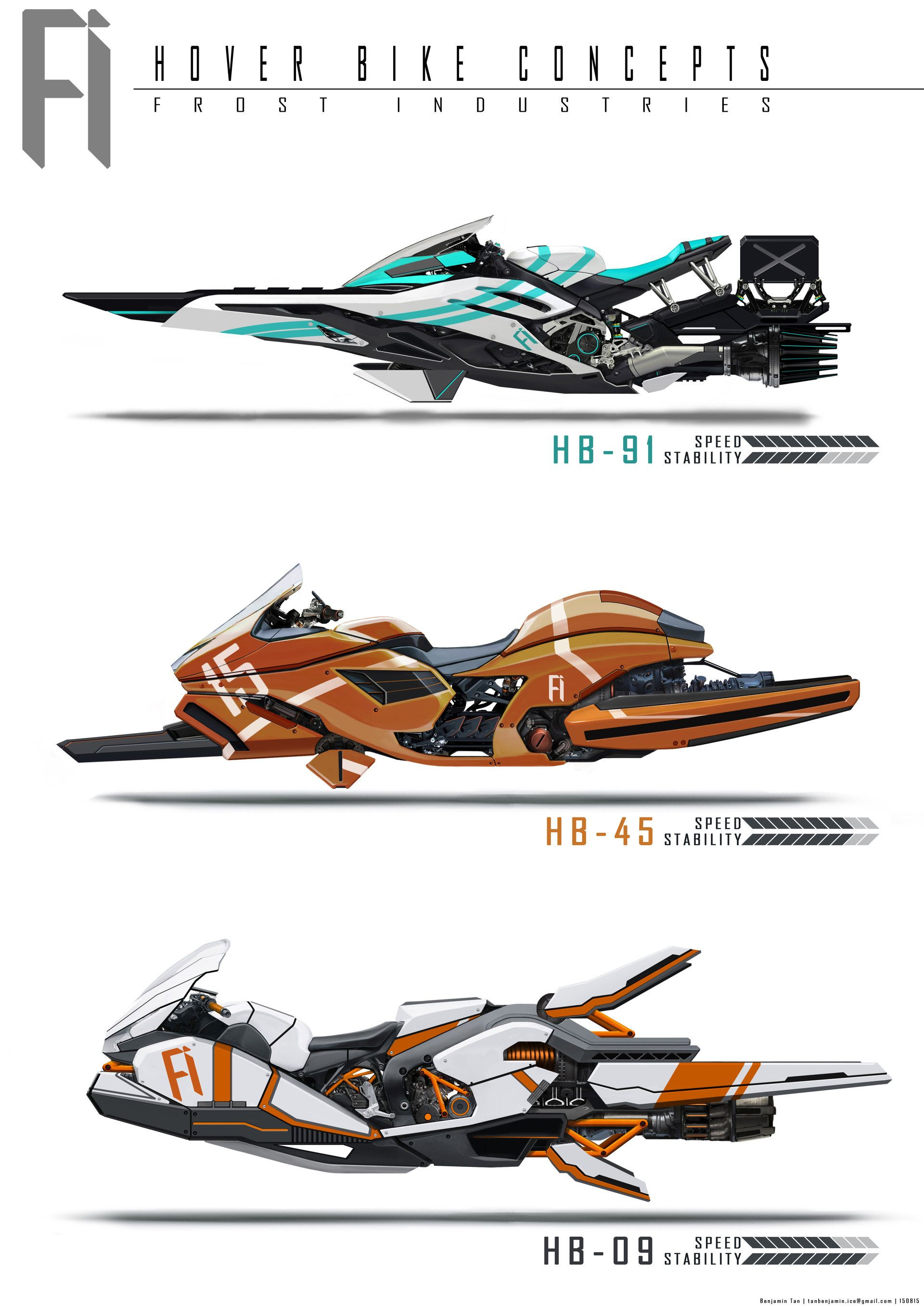Some side views of hoverbikes might do one in 3d in future