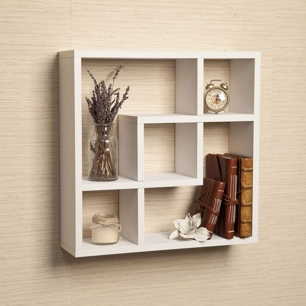 White Intersecting Wall Shelf Cube Square Decorative Shelving