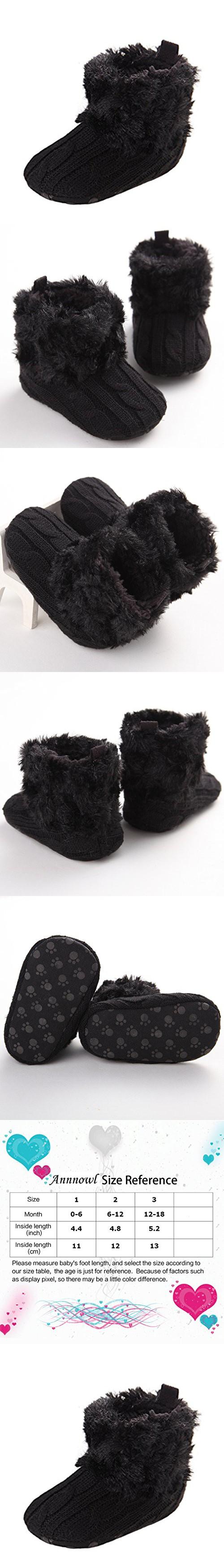 Annnowl Baby Girls Knit Soft Fur Winter Warm Snow Boots Crib Shoes 0-18 Months (6-12 Months, Black)