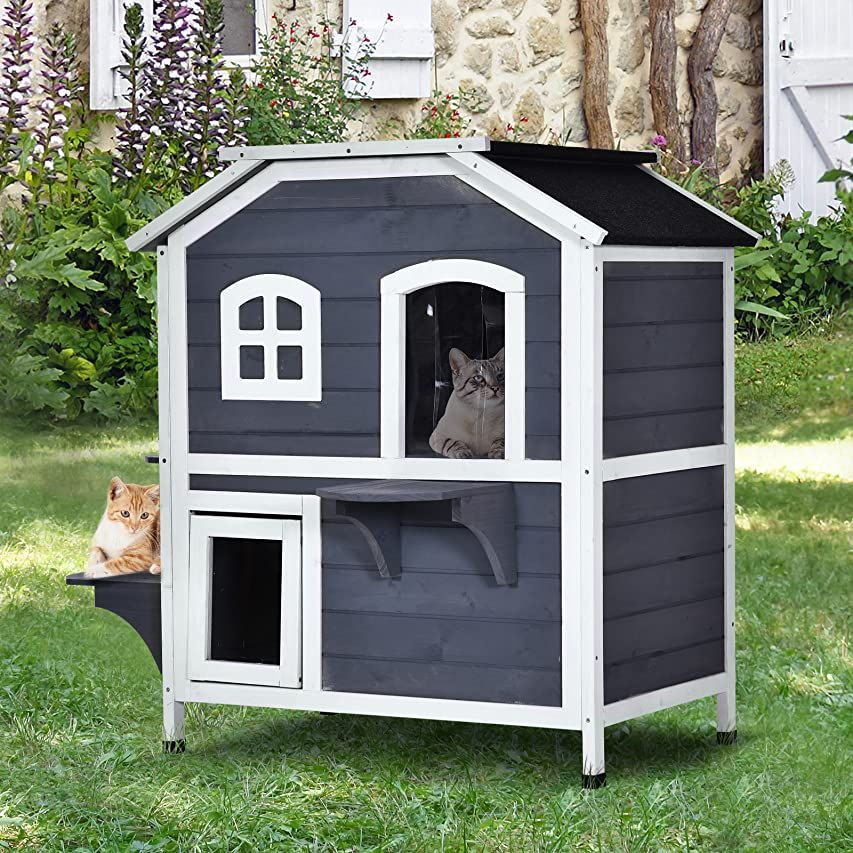 Petsfit 2 Story Outdoor Weatherproof Cat House With Stairs And Escape Door Pet Supplies Outdoor Cat House Wood Cat Cat House