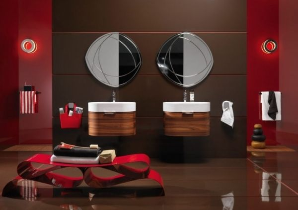 bilbao moderne badmöbel regia rot holz unterschrank spiegel