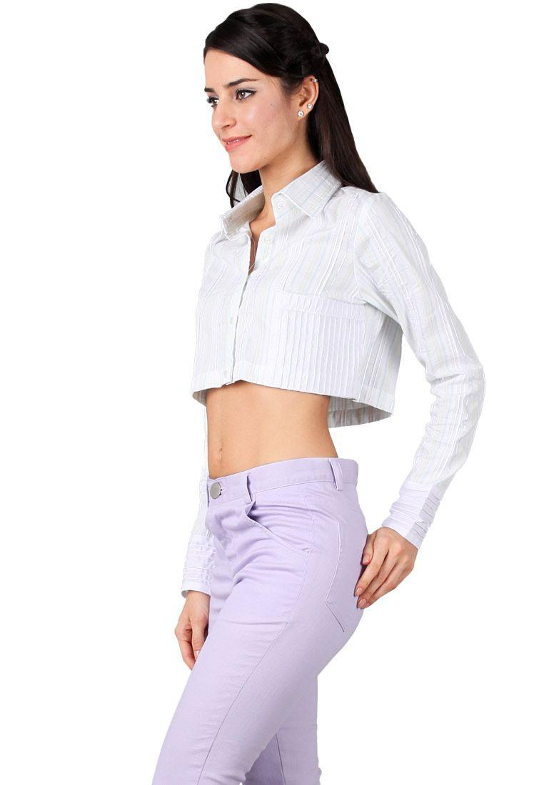 O2M O2M White stripe crop shirt with pleats in pocket hand I ZALORA Indonesia