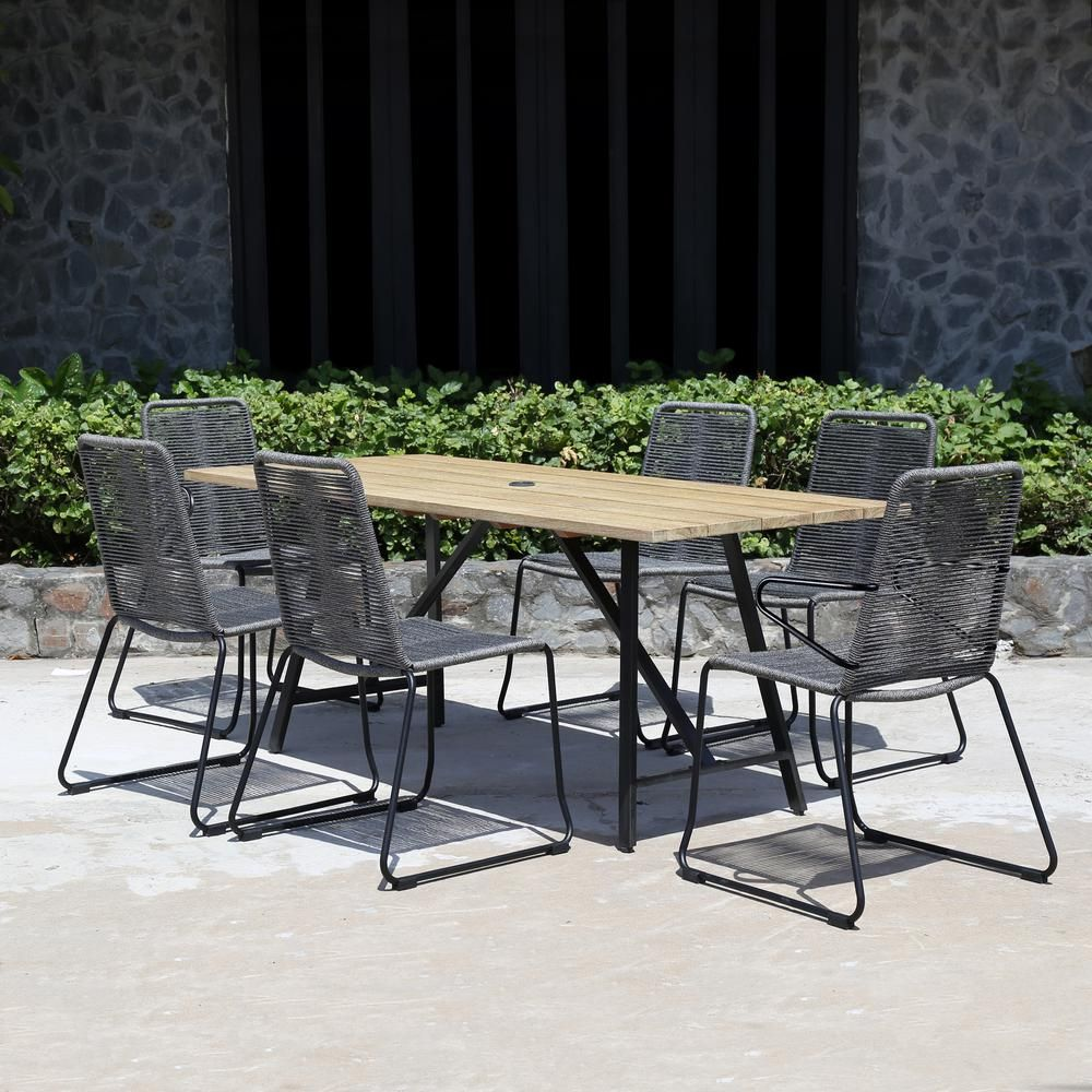 Royal Garden Linden Hills 7-Piece Steel Rope Outdoor Dining Set-LINDST707 - The Home Depot