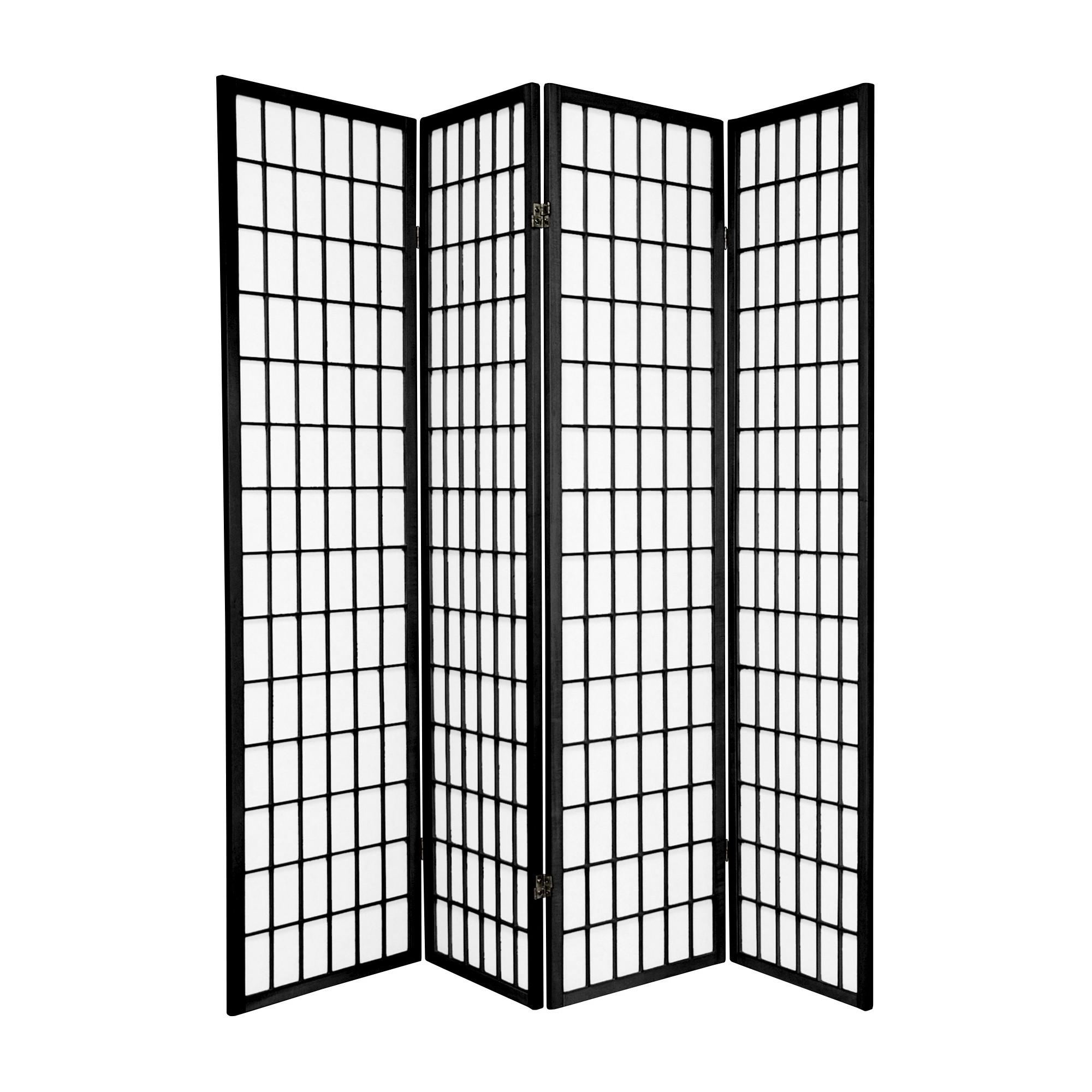 6 Ft Tall Window Pane Shoji Screen Black 4 Panels Shoji Screen Home Furnishings Tall Windows