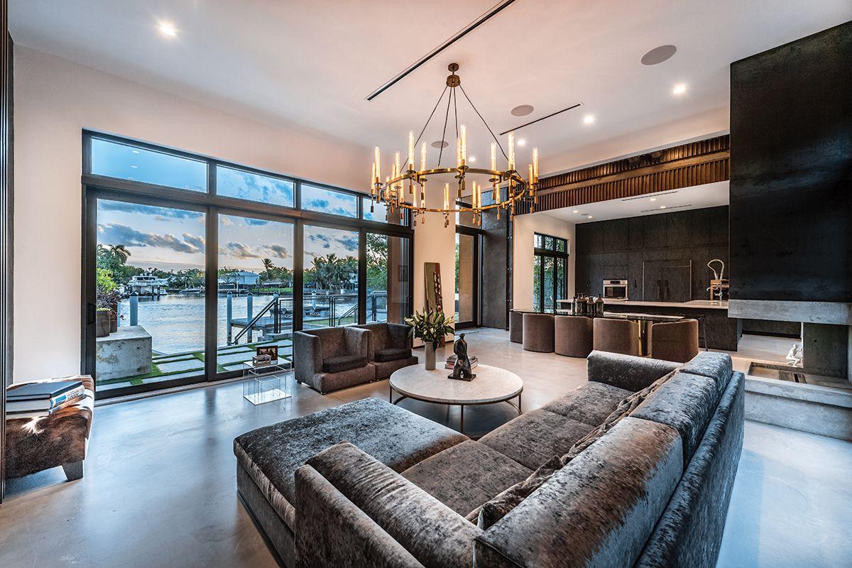 industrial innovation  living room design decor florida