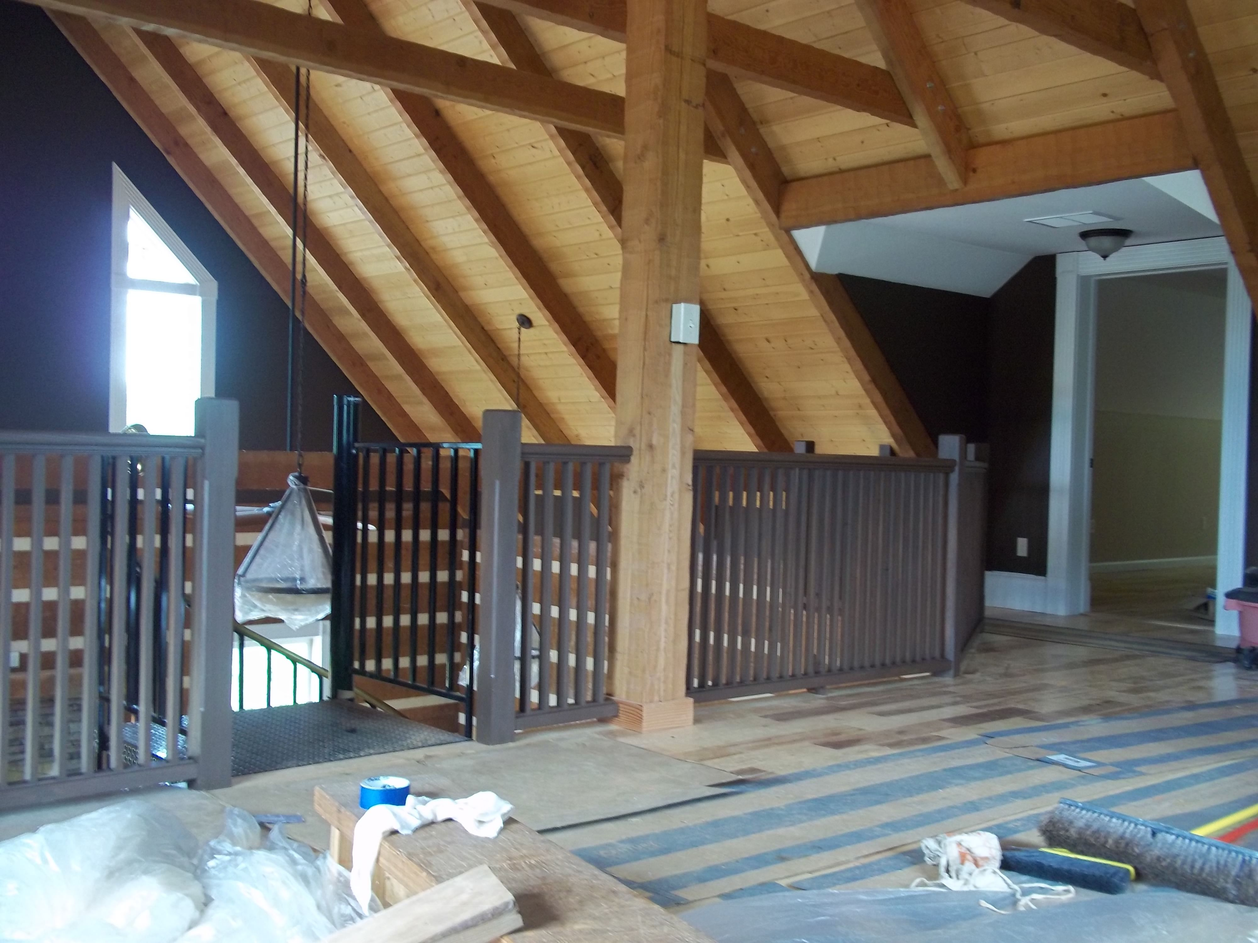 Cabin Interior Loft   Wall Color (Leather Chair), Wood Ceilings U0026 Beams  Sealed