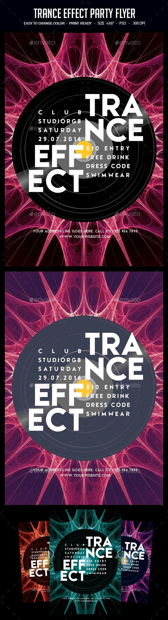 trance effect party flyer party flyer font logo and flyer template