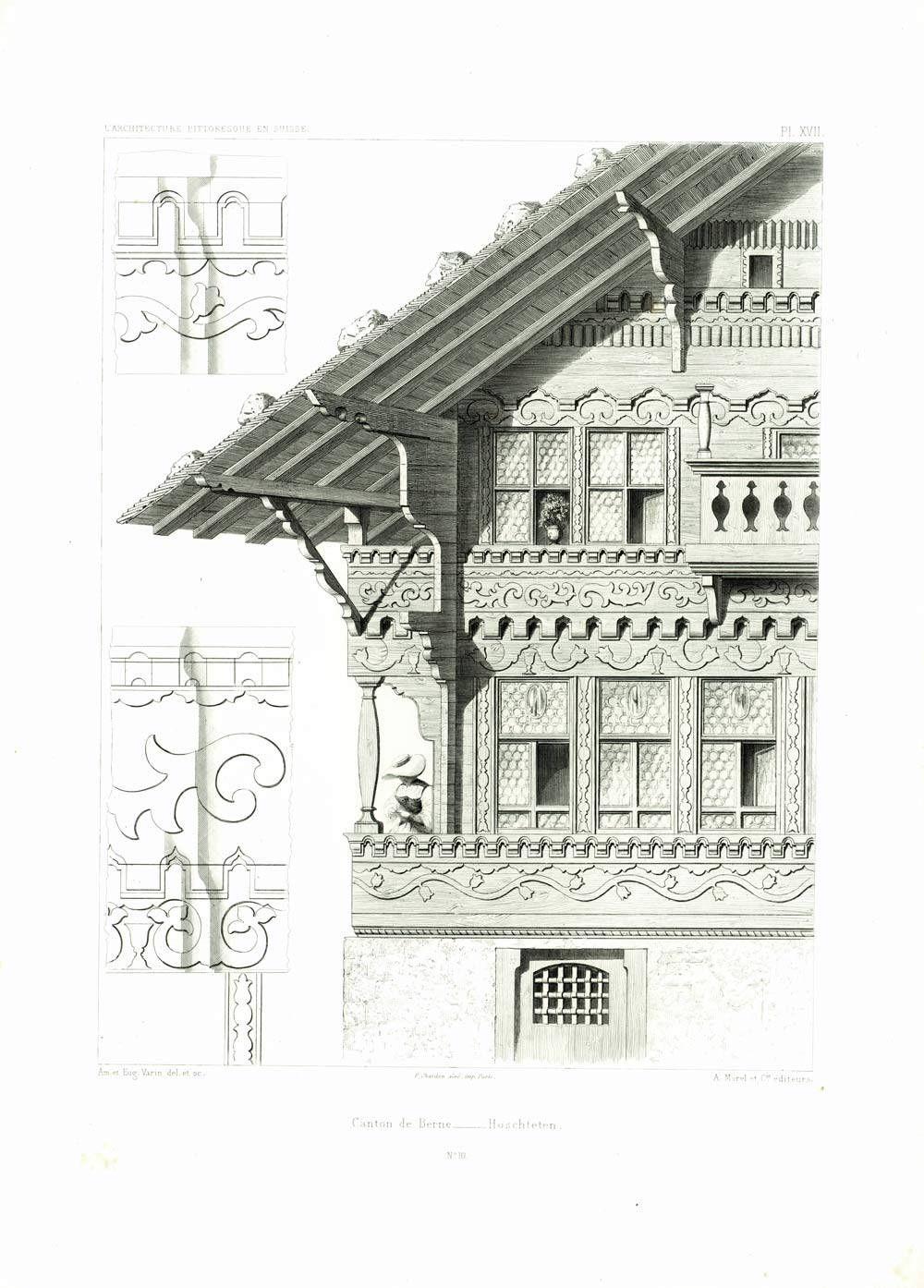 1861 Plans Swiss Chalet Cottage Architecture Print Antique Engraving Original Authentic Print Plan Chalet Chalet Suisse Chalet