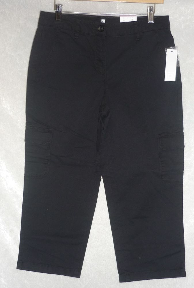 Liz Claiborne Womens Cargo Cropped Pants black solid flat front size 6 NEW  14.99 http://www.ebay.com/itm/Liz-Claiborne-Womens-Cargo-Cropped-Pants-black-solid-flat-front-size-6-NEW-/262874579959?ssPageName=STRK:MESE:IT