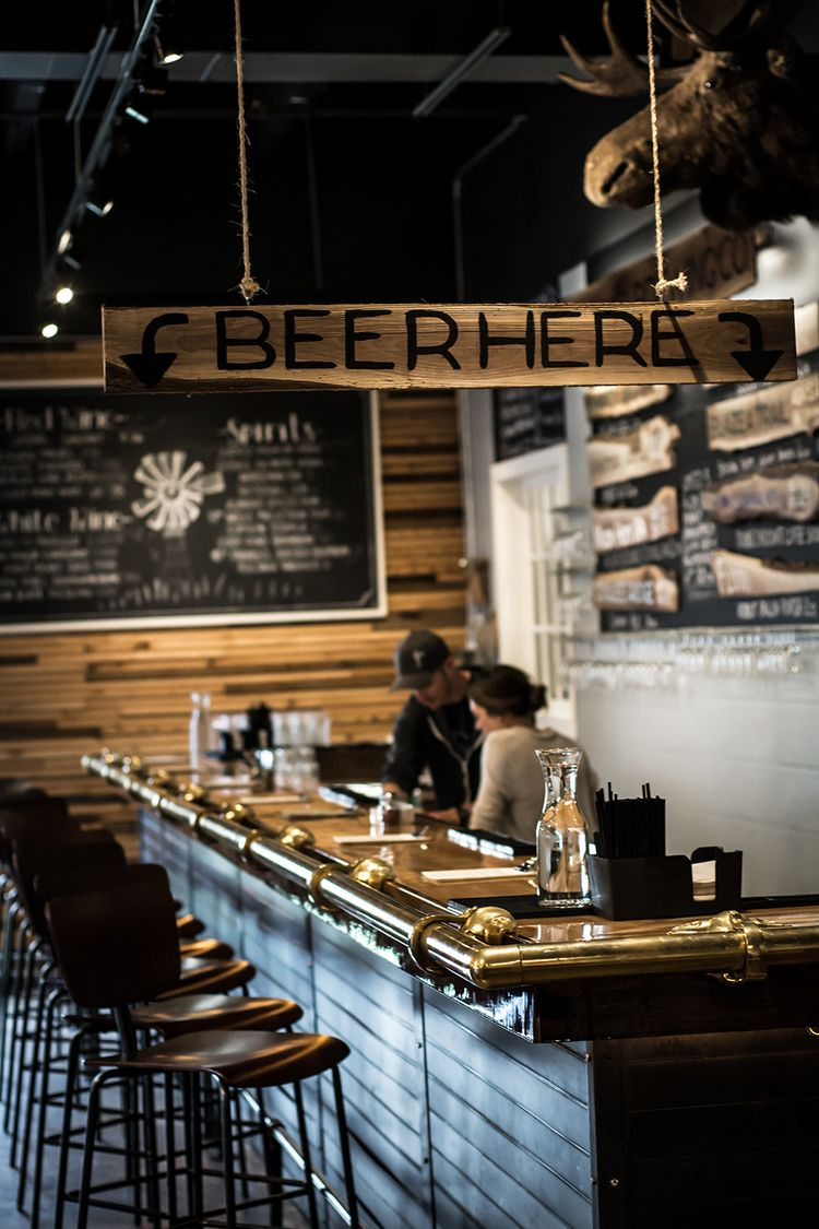 Interior of forager brewing a brewery restaurant in