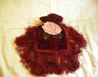 Draw string purse handmade purse Victorian style Purse Civil War reproduction ladies reticule bag burgundy pink roses velvet fringe beaded
