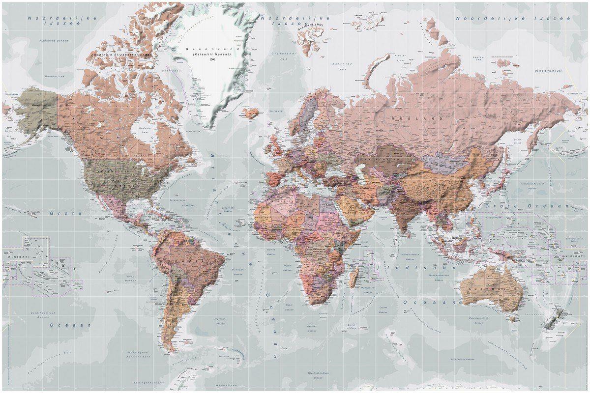 Deco Panel Weltkarte Pastellfarben 90 60 Kaufen Karten Tapete Wandgemalde Ideen Weltkarte Tapete